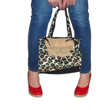 Faux Fur Altered Cheetah Print Purse Medium Sized Rockabilly Handbag