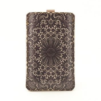 Leather iPhone/iTouch/HTC Desire/Mozart Case Lace by tovicorrie