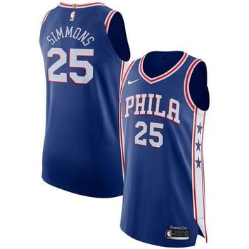 Ben Simmons Philadelphia 76ers # 25 Nike Royal Authentic Icon Edition Jersey - Best Deal Online