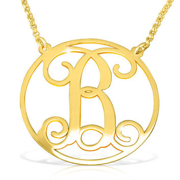 Solid Gold Initial Necklace/ Circle initial Real Gold / 14k Gold Initial Name Necklace/ Birthday Gift For Woman/ Birthday Gifts/ Gifts