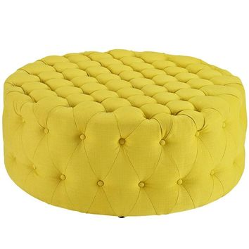 Amour Upholstered Fabric Ottoman, Sunny