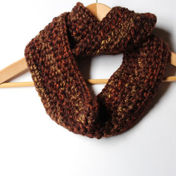 Multicolored Brown Infinity Scarf/ Crochet Cowl/ Fall Women's Scarf/ Fall Circle Scarf