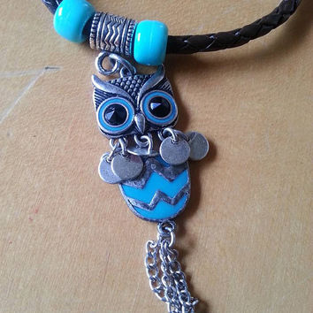 Leather Bracelet., Charm Bracelet, Owl Charm, Leather Cuff, Bracelet with Charms, Horse Gift, Beaded Jewelry, Owl Bracelet