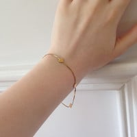 Vintage 14 Karat Gold Italian Heart Bracelet Dainty and Perfect for a Child or Couple