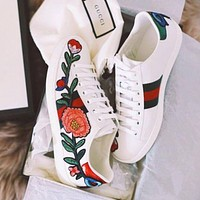 Gucci Ace Flower Embroidery Low Help Sport Running Sneaker Shoe I