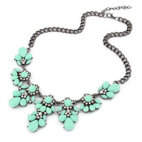 Crystal and Hematite Chain Floral Statement Necklace - Mint