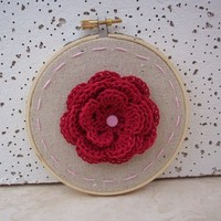 Embroidery Hoop Art  ~  Red and Cotton Candy Pink Crocheted Rosette Embroidery Hoop Art