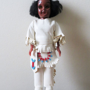 60s Native American Doll Figurine Collectible Beadwork White Leather Fringe Traditional Costume