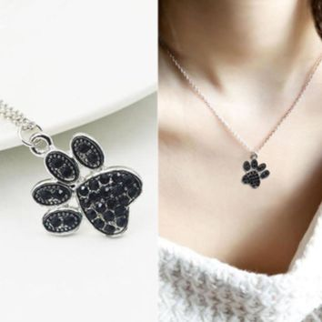 Tiny Delicate Choker Lovely Women Jewelry Lover Gift Black Crystal Rhinestone Dogs Paws Claw Print  Pendant Necklace  Jewelry