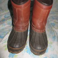 Itasca  brown leather and rubber duck boot womens sz 6    slipon style