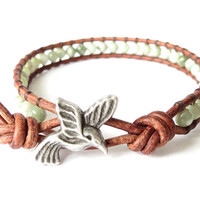 Hummingbird wrap bracelet with peace jade, native american symbol of love and happiness