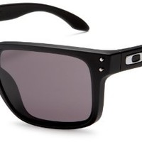 Oakley Mens Holbrook Rectangular Sunglasses OO9102-01, Matte Black/Warm Grey Lens