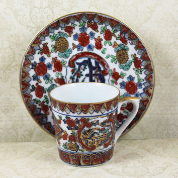 Vintage Gold Imari Asian Hand Painted, Red, Blue and Gold Gilt Tea Cup and Saucer
