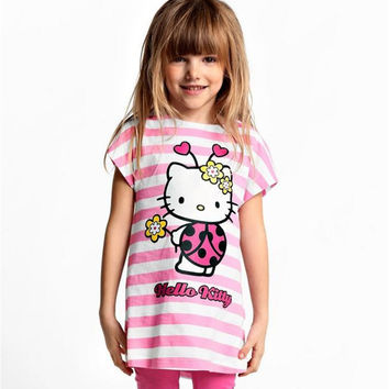 New 2016 Baby   Kids Hello Kitty Clothing Set Girl Suit 2Pcs T-Shirt+Pants Girls Summer Sets Clearance  15E