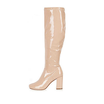 Light beige patent heeled ankle boots - knee high boots - shoes / boots - women