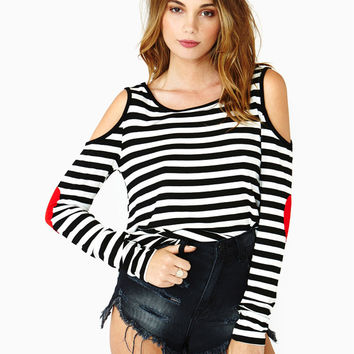 Black and White Striped Shoulder Cut-Out Long Sleeve Top with Heart Decor