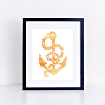 Watercolor Anchor Print // Choose From 5 Colors // Home Decor // Watercolor Print // Anchor Print // Gallery Wall Print