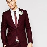 ASOS | ASOS Skinny Suit Jacket In Poplin In Red at ASOS