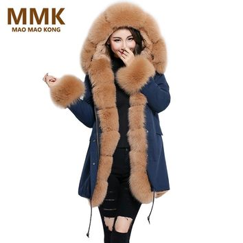 Women Coats And Jackets Winter 2017 New Long Navy Blue Parkas Real Fox Fur Collar Cuff Hooded Thick Outwear European style