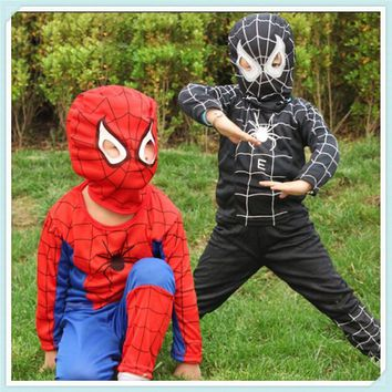 Cool New Spiderman Cosplay Costumes Suit Spider Man Children Kids Boy Performance Clothing Sets 3 Size Halloween C144AT_93_12