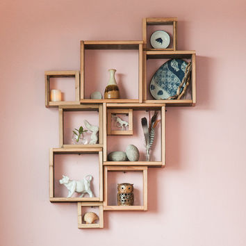 Barn wood shadow boxes / Modular square shelves /