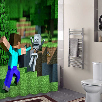 Minecraft Mine Craft Game 1 specials custom shower curtains that will make your bathroom adorable.