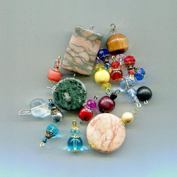 bead drops charms pendants stone gemstone glass beads wood beads 18 piece assorted mix #supply2051