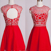 High Neck Capped Sleeves Mini Chiffon Beading Homecoming Dress