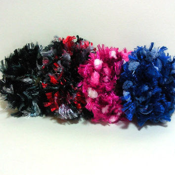Crochet Hair Scrunchies, set of 4, Crochet Ponytail Holder, Girls Hair Accessory