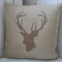 "Chestnut Brown Deer / Stags Head Hand Printed Rustic Hessian Cushion Burlap Pillow 14"" x 14"""
