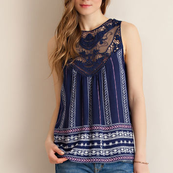 Lace Panel Top - Navy