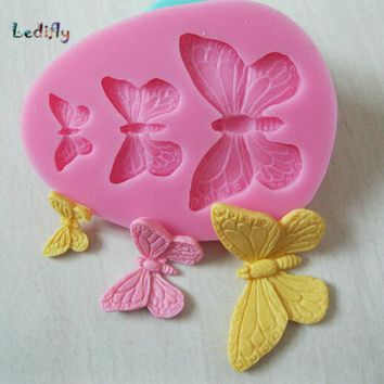 Ledifly 2017 New Arrival Cute Butterfly Chocolate Candy  Cake Silicone Mold Baking Pan Bakeware Tool 1PC