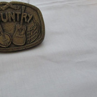 13-0763 Country Belt Buckle / Hipster / Music Notes / Guitar / Buckle