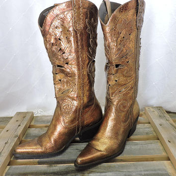 Bronze metallic cowboy boots / size 5.5 / copper / gold bling stand out cowgirl boots / made in Brazil / cut out leather detail