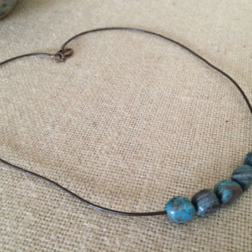 Turquoise Necklace, Beaded Turquoise Necklace, Leather Turquoise Necklace, Brown Leather