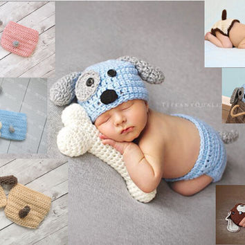 newborn Beanies, baby Puppy Dog Hat and Diaper / Nappy Cover baby set / BABY GIFT, newborn crochet Photography Props(No bones
