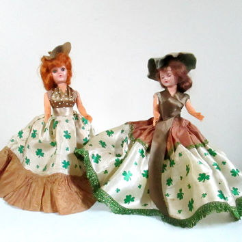 Irish Lassies Collapsible Eyes Dolls Set of 2 Vintage 1950s Hard Plastic Doll Feis Dancers