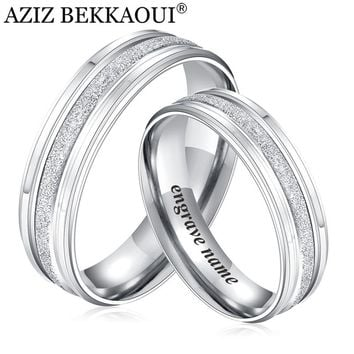 AZIZ BEKKAOUI Couple Rings Stainless Steel Wedding Rings Engrave Name Rings For Lover Engagement Promise Jewelry Dropshipping