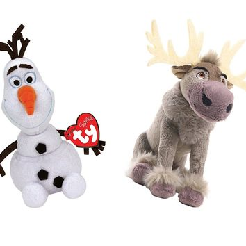 "Ty Frozen Set Of 2 Olaf and Sven 7"" Plush Beanie Baby Set Toy Doll Disney"
