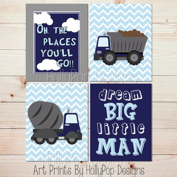 Construction posters Construction wall decor Dream big Cement truck print Blue nursery art Big boy bedroom decor Prints for boys #1399