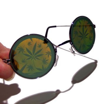 FREE SHIPPING, Hologram holographic cannabis pot leaf leaves weed reefer marijuana mary jane hemp hempfest 420 hippie hippy sunglases