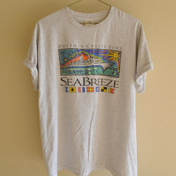 Gray Dolphin Cruise Graphic Tee Oversized Vintage 90s XXL