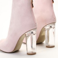Star Perspex Heel Ankle Boots in Pink Faux Suede