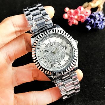 Rolex Fashion New Dial Diamond Women Men Business Personality Metal Wristwatch Watch