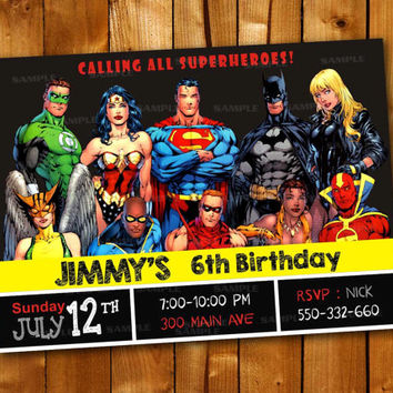 Marvel Superhero Batman Comicsbook, Birthday Invitation for little boy and little girl