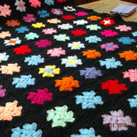 Handmade chunky crochet blanket -  Adaption of tradition granny type bedspread  (nannycheryl original) ID   787