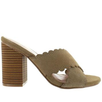 Mia Rosalyn   Natural Suede Crisscross Slide Sandal