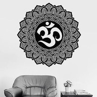 Wall Sticker Mandala Buddha Om Sign Symbol Meditation Vinyl Decal Unique Gift (z2923)