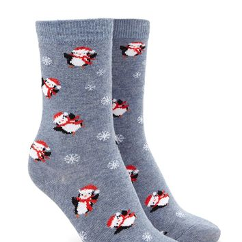 Penguin Print Crew Socks