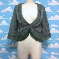 Light Fabric Lace Vest Cardigan in Green from Axes Femme
